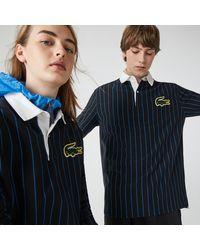 Lacoste L!ive Lacoste Unisex Live Striped Cotton Polo Shirt - L - Blue