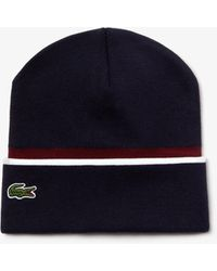 Lacoste Unisex Made In France Texturised Band Cotton Blend Knit - Blue