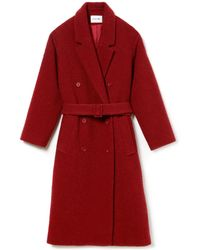 Lacoste - Double-breasted Belted Wool Bouclé Trench Coat - Lyst