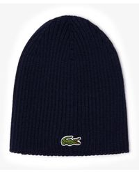 Lacoste Green Crocodile Ribbed Wool Beanie - Blue