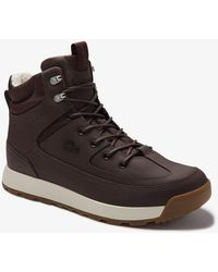 Lacoste Mens Urban Breaker Leather And Textile Hiking Boots - Brown