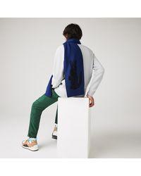 Lacoste Oversized Crocodile Rectangular Wool Scarf - One Size - Blue