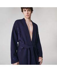 Lacoste Men's Soft Cotton Blend Kimono Robe - Blue