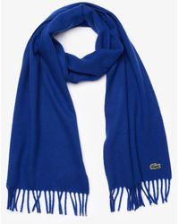 Lacoste Men's Felt Wool And Cashmere Scarf Set - Blue