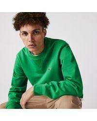 Lacoste Crew Neck Organic Cotton Fleece Sweatshirt - Green