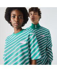 Lacoste L!ive Lacoste Unisex Live Colored Stripe Cotton T-shirt - S - Blue