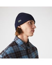 Lacoste Ribbed Wool Beanie - Blue