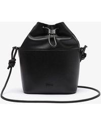 Lacoste Chantaco Matte Piqué Leather Drawstring Bucket Bag - Black