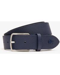 85c19ea2 Engraved-buckle Texturized Leather Belt - Blue
