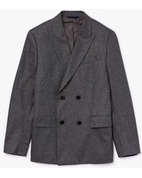 Lacoste Double-breasted Chevron Virgin Wool And Cashmere Blazer - Gray