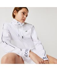 Lacoste Womens Sport Water-resistant Zip Tennis Jacket - White