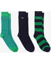 Lacoste Lot de 3 paires de chaussettes montantes en coton biologique - Vert