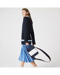 Lacoste Womens Chantaco Rectangular Colourblock Piqué Leather Bucket Bag - Blue