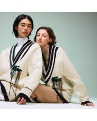 Lacoste Unisex Fashion Show Oversized V-neck Sweater - Blue