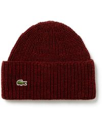 6ef73eac80f Lyst - Lacoste Unisex Live Turned Edge Ribbed Wool Beanie in Natural ...