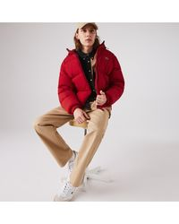 Lacoste Short Lightweight Water-resistant Puffer Coat - Red