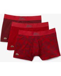 Lacoste Stretch-Baumwoll Trunks mit Silikon-Krokodil im 3er--Pack - Rot