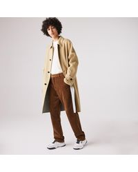 Lacoste Long Wool Blend Straight Cut Coat - Natural