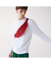 Lacoste Lcst Coated Canvas Zippered Belt Bag