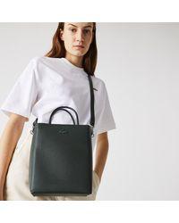 Lacoste Womens Chantaco Rectangular Piqué Leather Bucket Bag - Black