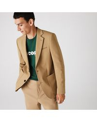 Lacoste Stretch Buttoned Straight Fit Cotton Blazer - Natural