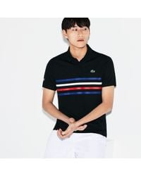 7686627913 Lacoste Sport Print Piqué Tennis Polo in Black for Men - Lyst