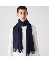 Lacoste Fringed Rectangular Wool And Cashmere Blend Scarf - Blue