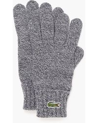 Lacoste Embroidered Crocodile Wool Gloves - Gray