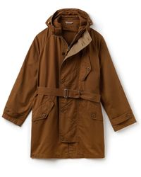 Lacoste Hooded Oversized Twill Parka - Brown