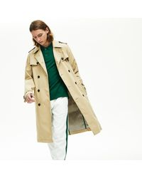 Lacoste Long Belted Cotton Trench Coat - 50 - M - Natural