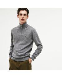 Lacoste - Zippered Stand-up Collar Merino Wool Jersey Sweater - Lyst