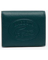 Lacoste Women's Croco Crew Grained Leather Bi-fold Wallet With Coin Purse - Green