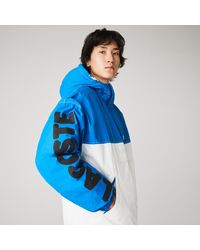 Lacoste Live Light Water-repellent Hooded Colorblock Coat - Blue