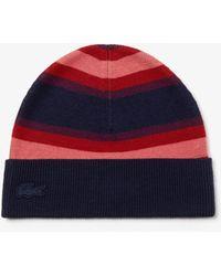 Lacoste Striped Wool Jersey Beanie - Blue