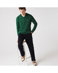 Lacoste V-neck Wool Sweater - Green