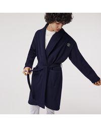 Lacoste Men's Sport-inspired Textured Badges Cotton Piqué Robe - Blue
