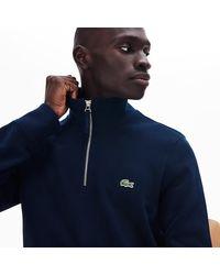 Lacoste Regular Fit Half-zip Cotton Sweater - 3xl - 8 - Blue