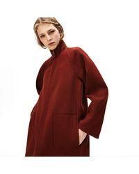 Lacoste Standup Collar Wool-blend Zip Coat - Brown