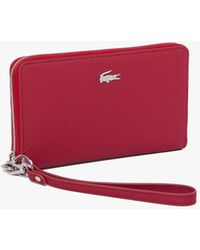Lacoste Women's Daily Classic Coated Canvas Wristlet Wallet - Red