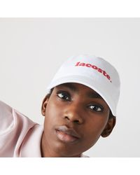 Lacoste Cotton Poplin Logo Cap - White