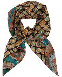 La Double J Double-print Foulard Piastrelle In Silk - Multicolor