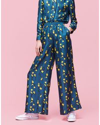 La Double J Palazzo Pants Pussy Willow In Silk Twill - Blue