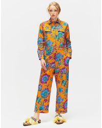 La Double J Benzinaio Jumpsuit Dandelion Arancio In Stretch Cotton - Multicolor