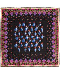 La Double J - Square Scarf Can Can Blu In Silk - Lyst