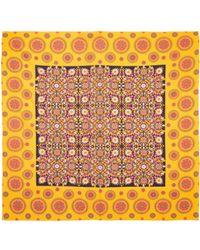 La Double J Square Scarf Ruote Gialle In Cotton Silk - Yellow