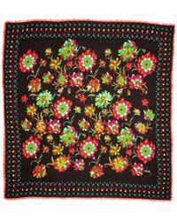 La Double J Square Scarf Dandelion In Modal Cashmere - Multicolor