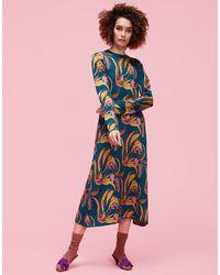 La Double J - Bee Dress Windy Flowers Blu In Cashwool Knit - Lyst