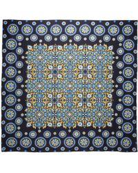 La Double J Square Scarf Ruote Blu In Cotton Silk - Blue
