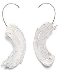 Lady Grey - Eva Earrings In Rhodium And White - Lyst