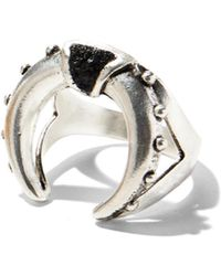 Lady Grey - Mini Crescent Ring In Silver With Jet - Lyst